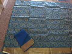 Blue & gold pure kanchipuram lovely saree with  gold border -ZN13071 #Unbranded #Saree