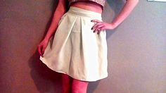 Circle, high waisted skirt, light blue