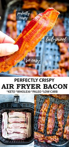 Learn how to cook perfectly crispy air fried bacon every time! Air Fryer Bacon is the easiest way to Brunch Recipes, Keto Recipes, Breakfast Recipes, Cooking Recipes, Healthy Recipes, Bacon Recipes, Muffin Recipes, Dinner Recipes, Air Fry Bacon