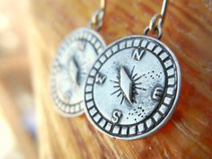 Nautical Gift, Stocking Stuffer Sterling Silver Compass Earrings by HappyGoLicky Jewelry, CLICK pic to buy now $28 #CompassJewelry