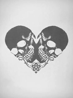 want this. heart shaped made with two skulls and little flower !!