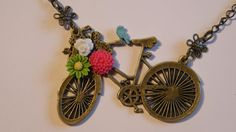 Vintage Bicycle and Flower Chain Necklace Outdoor Riding Nature Necklace
