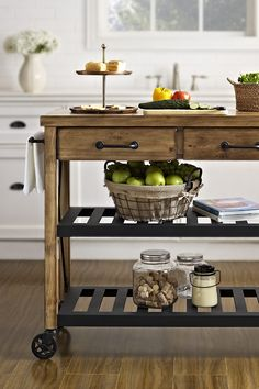 Oooo, maybe for my kitchen! #counterspaceneeded Bring the relaxed style of French wine country to into your home with this rustic kitchen cart. The combination of the reclaimed wood frame and metal shelves make it a perfect match for any rustic, country or industrial style.