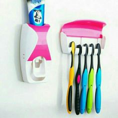 Multi-Color Automatic Toothpaste Dispenser Minions + Toothbrush Holder Set Family Bathroom Set Wall Mount Rack Bath Accessories Type: Two-pieceFeature: Eco. Bathroom Shelves, Bathroom Sets, Toothpaste Colors, Handicap Accessories, Toothpaste Squeezer, Wall Mount Rack, Le Tube, Hygiene, Ear Cleaning