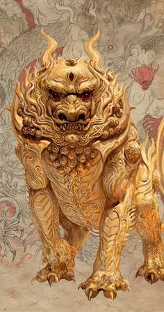 komainu:APPEARANCE: Koma inu are noble holy animals which are usually employed as guardians of holy areas. They can range in size from a small dog to the size of a lion, and due to their resemblance to both creatures, are often called lion dogs in English. They have thick, curly manes and tails, powerful, muscular bodies, and sharp teeth and claws. Some koma inu have large horns like a unicorn on their heads, however many are hornless.