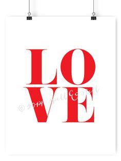 love print // red love print // modern by spellandtell on Etsy