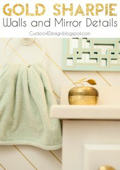 Cuckoo4Design: gold sharpie striped walls and mirror details. Bathroom Makeover on a really tight budget
