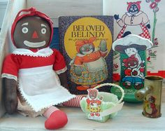 Beloved Belindy    Doll, book & toys: 1926 - 1940s. Belindy was a supporting character in Johnny Gruelle's Raggedy Ann books.