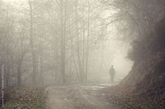 Silhouette of man standing in the fog on road in nature Fog Photography, Man Standing, Man Photo, Fishing Boats, Mists, Woods, The Unit, Silhouette, Stock Photos