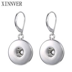 Fashion 1 Pair Zinc Alloy Simple Elegant Snap Drop Earrings Fit 18-20MM Xinnver Snap Buttons DIY Xinnver Jewelry ZI010 #Affiliate