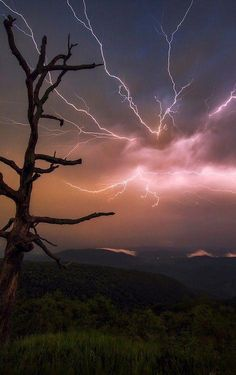 Stormy night over Shenandoah by WJMcIntosh. Tornados, Thunderstorms, Dame Nature, Nature Sauvage, Wild Weather, Thunder And Lightning, Stormy Night, Natural Phenomena, Beautiful Sky