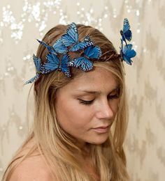 Blue Woodland Butterfly Crown  princess fairy by neesiedesigns, $30.00