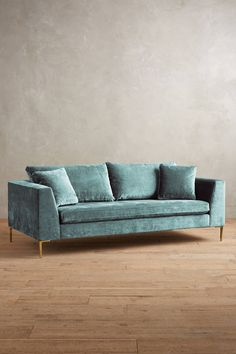 Slide View: 1: Slub Velvet Edlyn Sofa