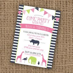 Zoo animal Birthday Invite {Digital Design}  - custom color schemes are ok, Can be any theme too... not just zoo animals