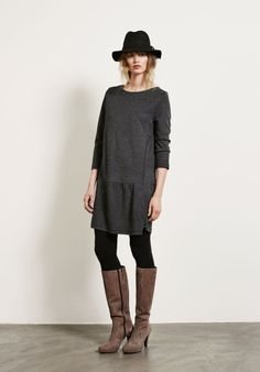 Classic winter wear - Drop waist jersey dress - everyday - thick black tights - tall boots