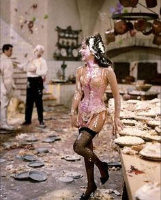 Natalie Wood after a pie fight, 1965.