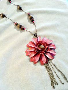 Tassel Necklace  Pink Flower Tassel Necklace  by MissGawdysJewelry