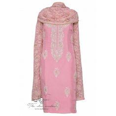 Pretty baby pink salwar kameez adorn in handwork complemented with heavy dupatta