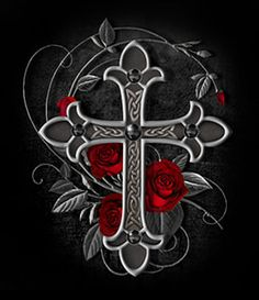 Art by Gothic Rose Blue Flower Wallpaper, Cross Wallpaper, Gothic Wallpaper, Gothic Crosses, Gothic Art, Celtic Crosses, Cross With Wings Tattoo, Cross Drawing, Skull Rose Tattoos