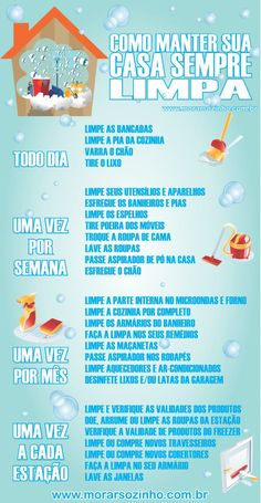 Infográfico: Como manter a casa sempre limpa? Clean Life, Clean House, House Cleaning Tips, Cleaning Hacks, Diy Crafts For Kids, Home Crafts, Flylady, Home Alone, Konmari