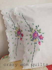 crazy mom quilts: a very special finish - embroidery pattern. not a tutorial… Pillow Embroidery, Embroidery Transfers, Ribbon Embroidery, Embroidery Fashion, Cross Stitch Embroidery, Hand Embroidery Patterns Flowers, Free Machine Embroidery Designs, Flower Patterns, Embroidered Pillowcases
