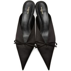 bb9799bc30 Balenciaga Black Satin Bow Mules (44,915 INR) ❤ liked on Polyvore featuring  shoes, black slip-on shoes, satin shoes, black kitten heel shoes, black  shoes ...