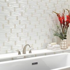 Daltile Premier Accents Snow White Wave 11 in. x 14 in. x 4 mm Glass and Stone Mosaic Wall Tile sq. / - The Home Depot Stone Mosaic Tile, Mosaic Wall Tiles, Mosaic Glass, Mosaic Pieces, Marble Wall, Fireplace Wall, Glass Texture, Shower Floor, Wall Design