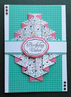 Ive seen a number of cards on the internet featuring these folds a fun and bright double pleat birthday card by craft demonstrator louise bookmarktalkfo Gallery