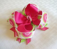 SALE CIJ Watermelon Hair bow Girls Pink by CuteNCurlyBowtique, $7.16
