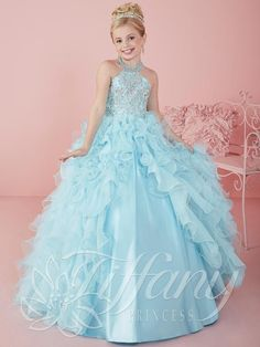 2016 New Girls Pageant Dresses Crystal Beaded Sky Blue Halter Ruffles Tiered Organza Long Ball Gown Kids Flower Girls Dress Birthday Gowns Online with $99.5/Piece on Yes_mrs's Store | DHgate.com