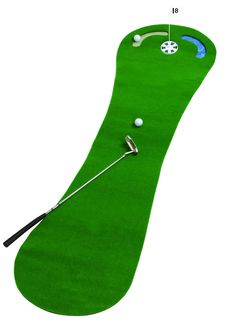 Measuring 2 by 9 feet this par golf practice putting mat by JEF World of Golf features a sand trap and water hazard