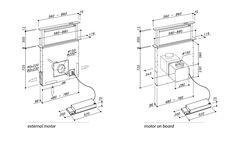 Kóty výsuvné digestoře z pracovní desky SIRIUS SDD2 / SDD2 TC šíře 60 a 90 cm