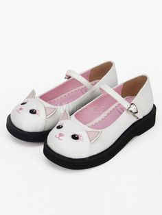 9bc4b6a795eb Sweet Lolita Shoes Flat Square Toe Two Tone Cat White Lolita Shoes  Shoes