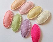 Set of 10 Baby Clips.Wool Felt. Felt Clips. Baby. Girls. Pick Colors. Scalloped Clips. Everyday Clips
