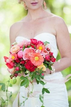 Summer wedding bouquet idea - romantic pink bouquet with roses, ranunculuses and poppies {Rebecca Gosselin Photography}