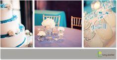 White wedding flowers, blue linen, lemonade in mason jars with custom flags, blue and white cake.  a Carolina Wedding Design wedding  www.carolinaweddingdesign.com