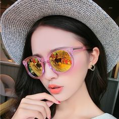 e28ee71a5d Sunglasses tide female star models 2015 color film circular reflective sunglasses  influx of people retro round face glasses