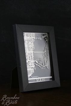 Miami College Town Stainless Steel Framed Street Map