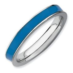 Sterling Silver Stackable Expressions Blue Enameled 3.25mm Ring - SalmaJewelry.com  $37.40