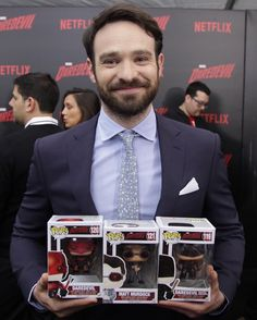 """Check it out! It's Charlie Cox with our @Daredevil Pop!s!! Looking forward to the second season! #Daredevil"""