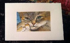 Tenerezza, gatti  -  acquerello