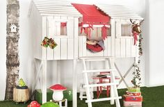 tree house for playroom!Could do storge cubbies under. How cute to suggle up there to play or read.