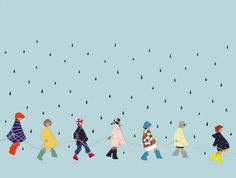 Walking In The Rain, cut-paper collage, by Ida Pearle