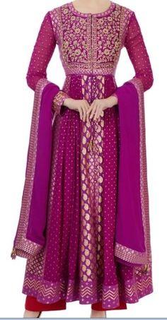 56e4cdfaf7ddb Purple georgette  amp  chanderi brocade anarkali set by Shyam Narayan  Prasad  fashion  clothing