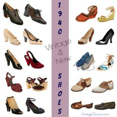 What style of shoes did women wear in the forties? Peep toe, wedges, saddles, and slingback are just of few of popular 1940s shoe styles for women.