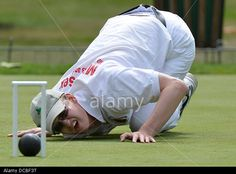 London, UK. 14th Aug, 2013. WCA World Croquet Championships a competitor in the Plate Blocks round at The Hurlingham Club London UK © Leo Mason sports photos/Alamy Live News