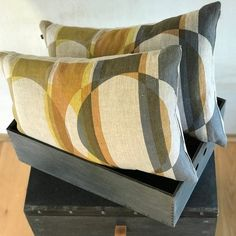 Limited edition retro print pillow; Mid century style cushion