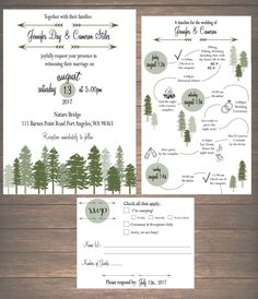 Printable Mountain Weekend Wedding Invitation Kit – Invitation, Weekend Itinerary, RSVP Card – Invitation Ideas for 2020 Cabin Wedding, Wedding Sets, Wedding Cards, Wedding Day, Wedding Venues, Wedding Programs, Budget Wedding, Wedding Locations, Garden Wedding