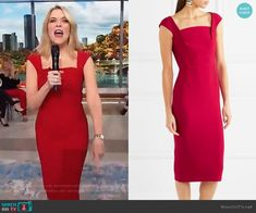 a3f9e68ff57c3d Megyn s red square neck sheath dress on Megyn Kelly Today. Outfit Details   https