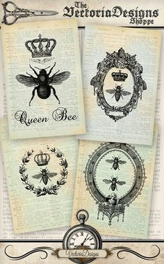Queen Bee Papers 6 x 4 inch printable images by VectoriaDesigns